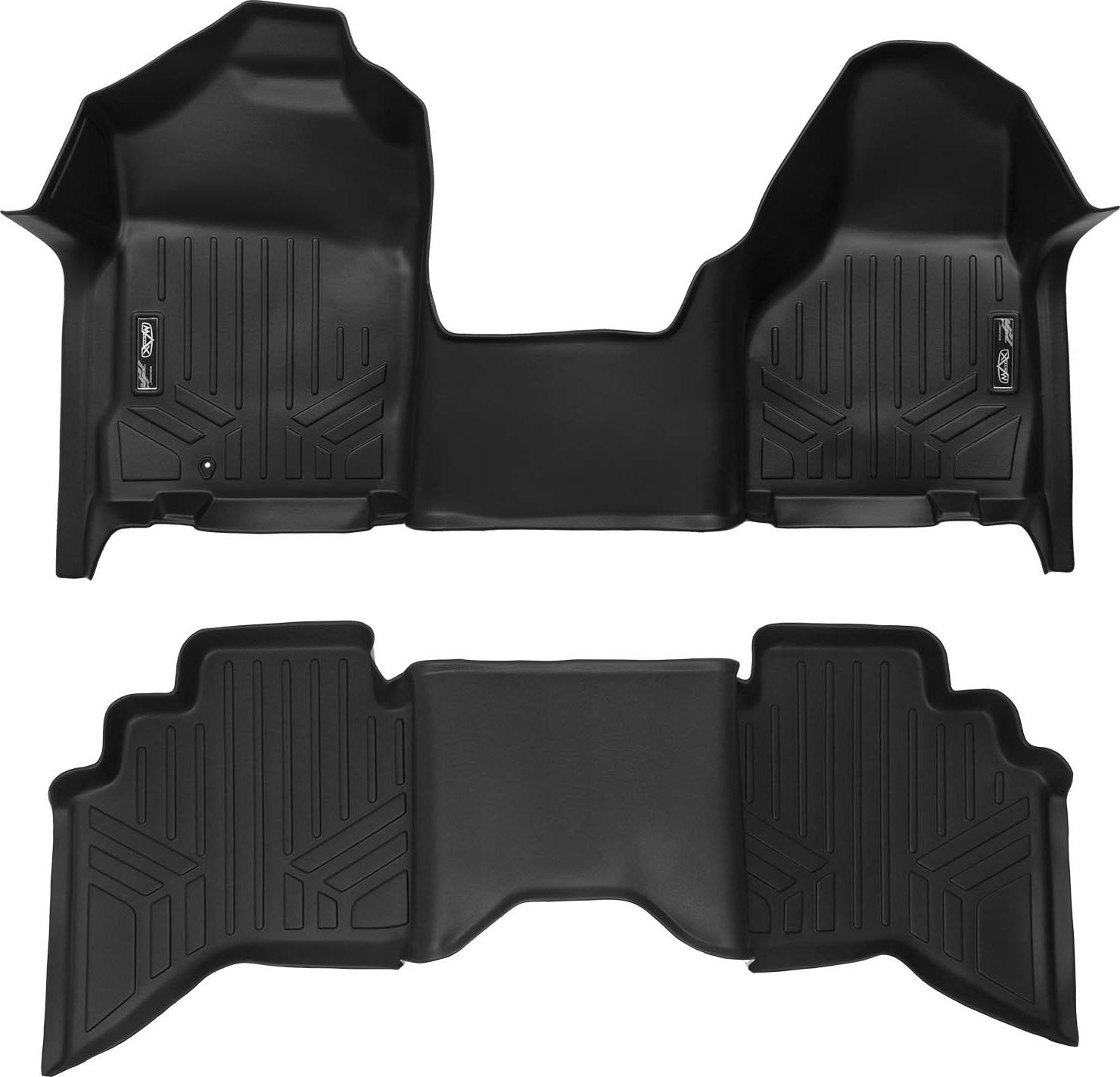 Black MAXFLOORMAT Floor Mats for Silverado//Sierra 1500//2500//3500 Crew Cab